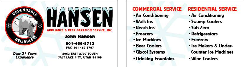 Hansen Refrigeration business card